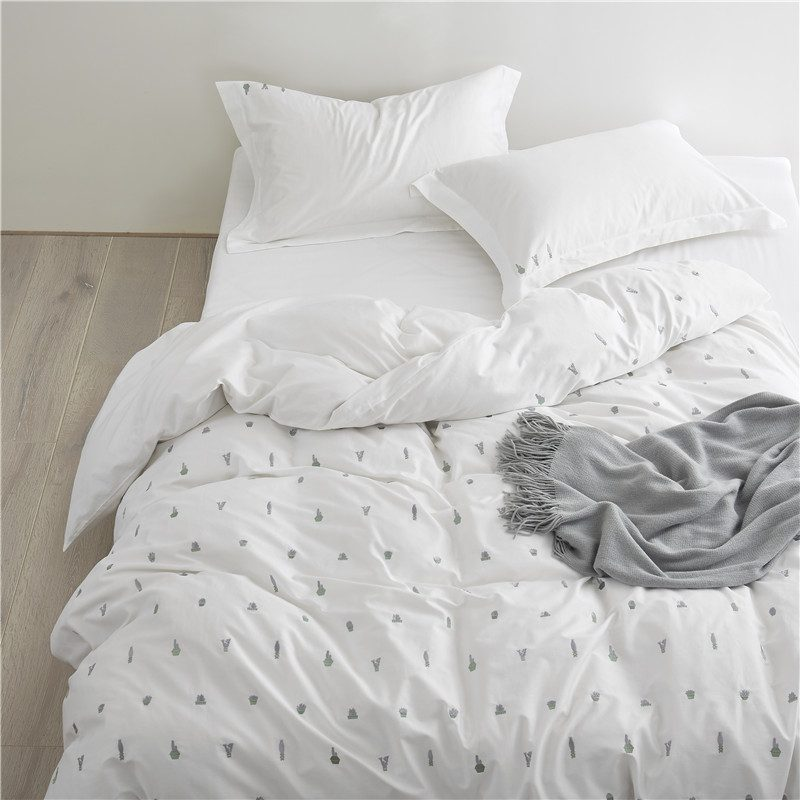 Cactus White Duvet Cover Set