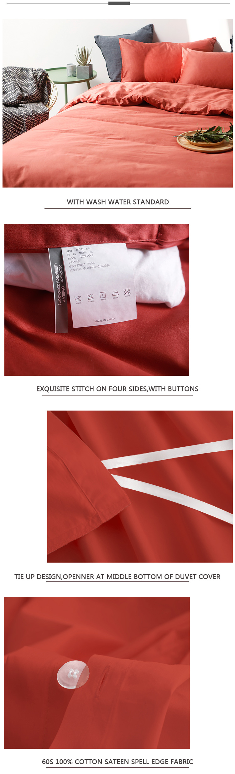 4pcs Sateen Bedding Set