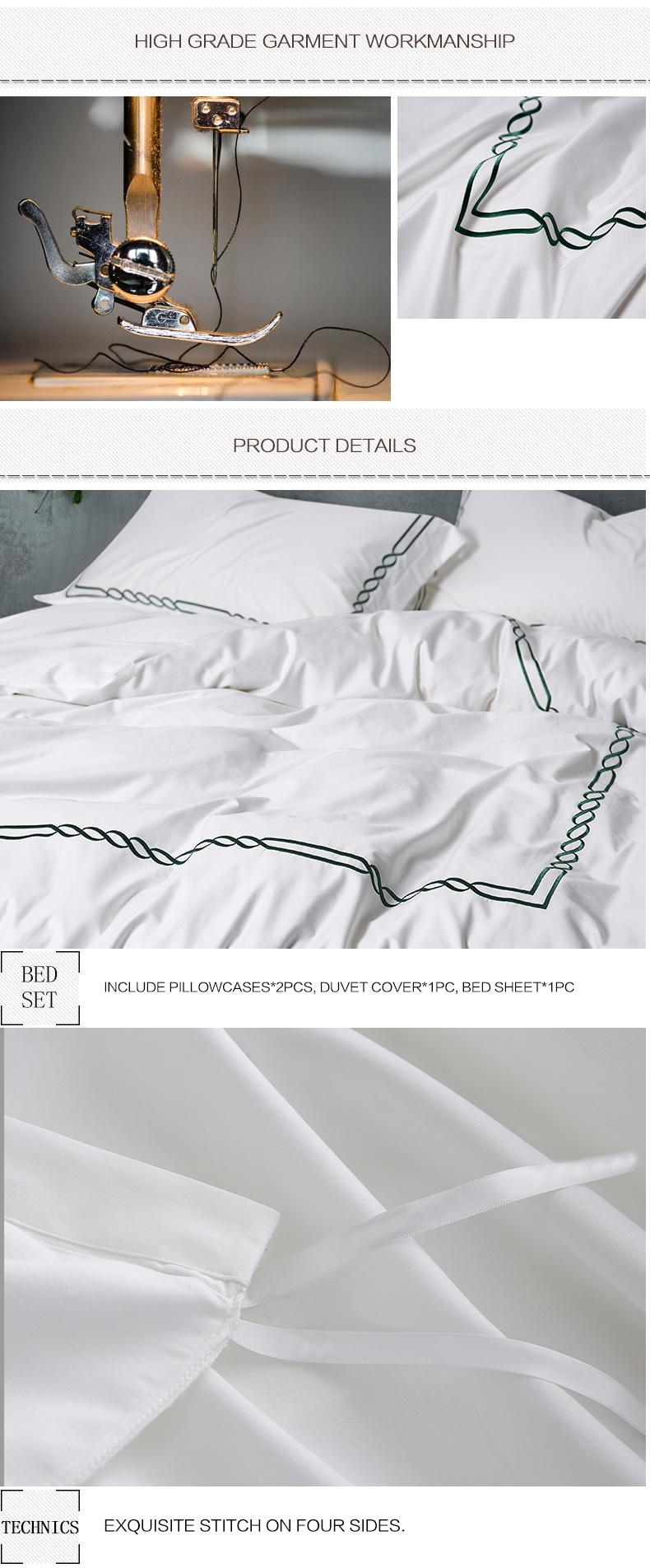 Light Green Embroidered Hotel Bedding Set